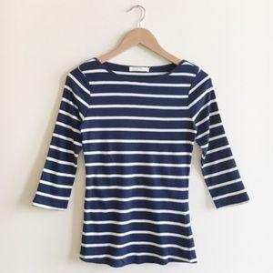 NWT Zara Navy Blue White Stripe Cotton Tee